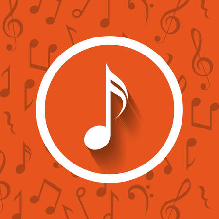 pentagramma musicale: Music note inside button icon. Sound melody and musical theme. Colorful design. Vector illustration Vettoriali