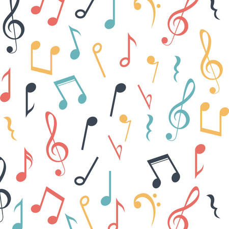 pentagramma musicale: Music note icon. Sound melody and musical theme. Colorful and background design. Vector illustration