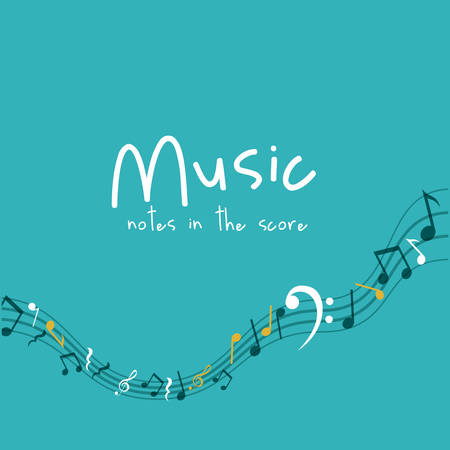pentagramma musicale: Music note icon. Sound melody and musical theme. Colorful design. Vector illustration