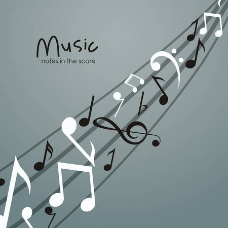 icono de nota musical. sonido de la melodía y el tema musical. diseño aislado. ilustración vectorial