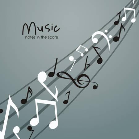 pentagramma musicale: Musica icona della nota. la melodia del suono e il tema musicale. progettazione isolata. illustrazione di vettore