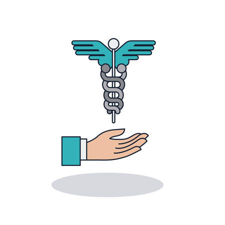 Caduceus and hand icon. Medical and health care theme. Colorful design. Vector illustration Illustration