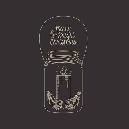 mason: Candle inside mason jar icon. Merry Christmas season and decoration theme. Sketch and draw design. Vector illustration Illustration