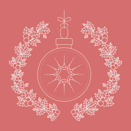 christmas crown: sphere inside ornament and rustic leaf crown icon. Merry Christmas season and decoration theme. Vector illustration