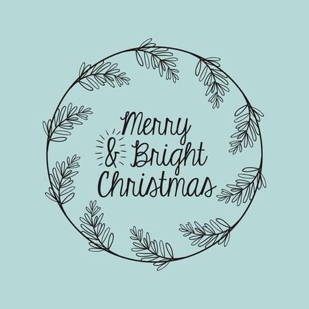 corona navidad: Icono de la hoja de la corona del ornamento y rústico. temporada de Feliz Navidad y la decoración tema. ilustración vectorial