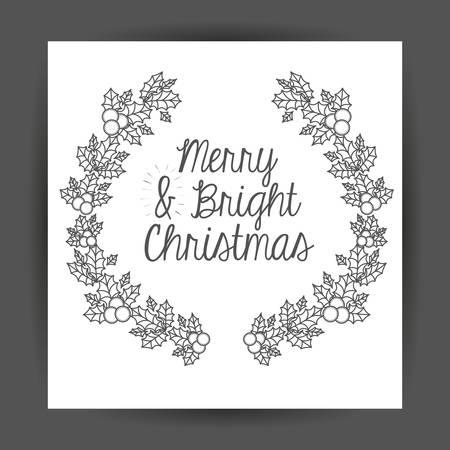 corona navidad: ornament and rustic leaf crown icon. Merry Christmas season and decoration theme. Vector illustration