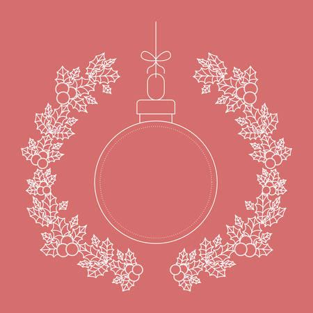 corona navidad: ámbito en el interior del ornamento y rústico icono de la hoja de la corona. temporada de Feliz Navidad y la decoración tema. ilustración vectorial