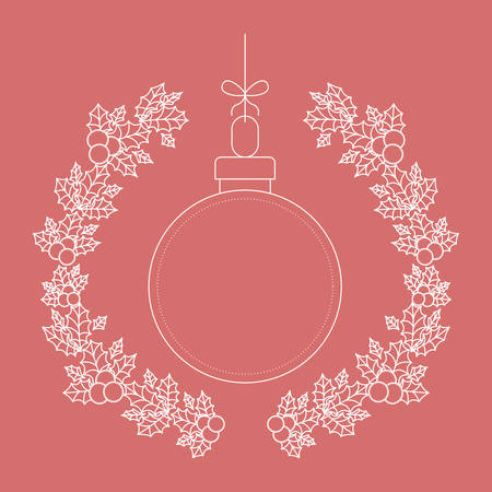 corona navidad: sphere inside ornament and rustic leaf crown icon. Merry Christmas season and decoration theme. Vector illustration