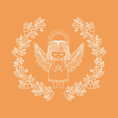 christmas crown: angel inside ornament and rustic leaf crown icon. Merry Christmas season and decoration theme. Vector illustration