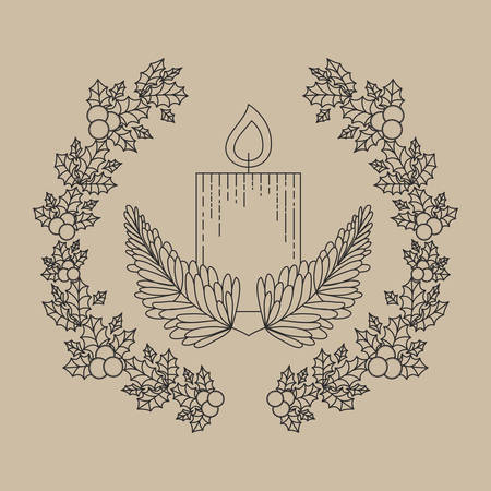 corona navidad: candle inside ornament and rustic leaf crown icon. Merry Christmas season and decoration theme. Vector illustration