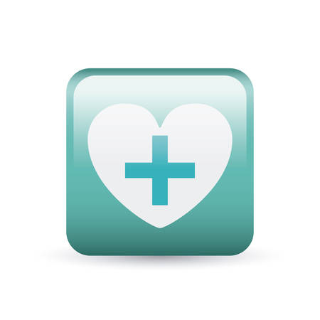 injure: Cross shape and heart inside frame icon. Medical and health care theme. Colorful and isolated design. Vector illustration