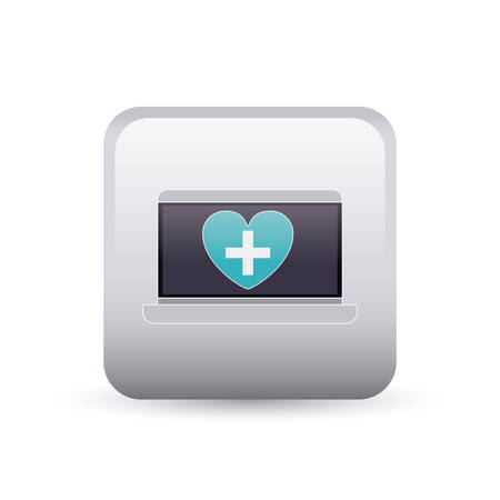 injure: laptop heart and cross inside frame icon. Medical and health care theme. Colorful and isolated design. Vector illustration