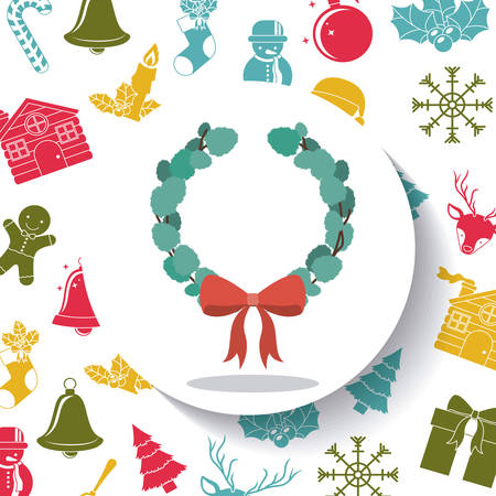 corona navidad: Leaves crown and bowtie inside circle icon. Merry Christmas season and decoration theme. Colorful design. Vector illustration
