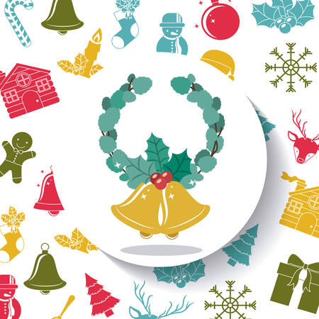 christmas crown: Leaves crown and bell inside circle icon. Merry Christmas season and decoration theme. Colorful design. Vector illustration