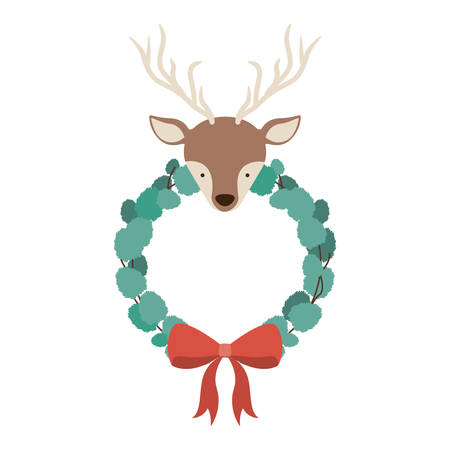 corona navidad: Reindeer and crown icon. Merry Christmas season and decoration theme. Isolated design. Vector illustration Vectores