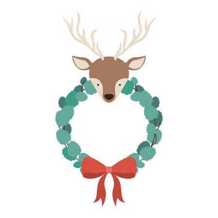 corona navidad: Reno y el icono de la corona. temporada de Feliz Navidad y la decoración tema. diseño aislado. ilustración vectorial Vectores