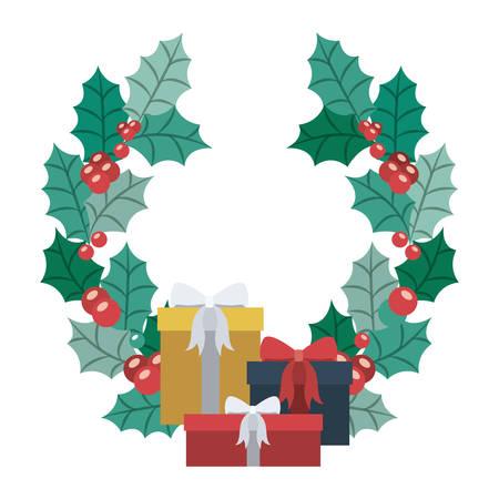 corona navidad: Regalo y el icono de la corona. temporada de Feliz Navidad y la decoración tema. diseño aislado. ilustración vectorial