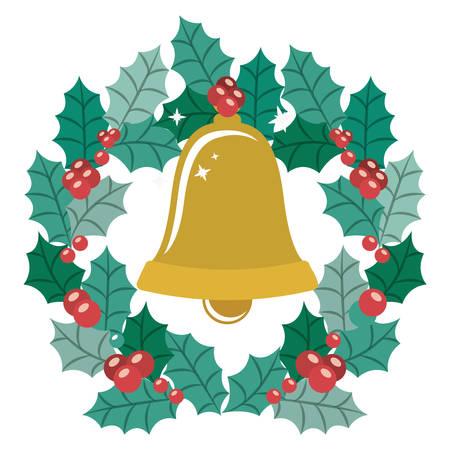 corona navidad: Bell and crown icon. Merry Christmas season and decoration theme. Isolated design. Vector illustration