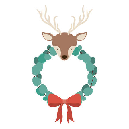 christmas crown: Reindeer and crown icon. Merry Christmas season and decoration theme. Isolated design. Vector illustration Vectores