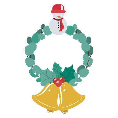 corona navidad: Snowman and crown icon. Merry Christmas season and decoration theme. Isolated design. Vector illustration Vectores
