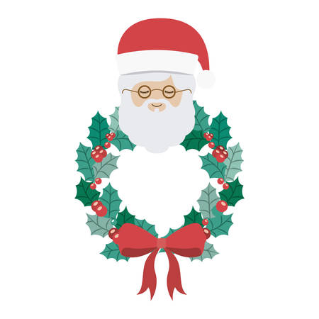 christmas crown: Santa and crown icon. Merry Christmas season and decoration theme. Isolated design. Vector illustration Vectores