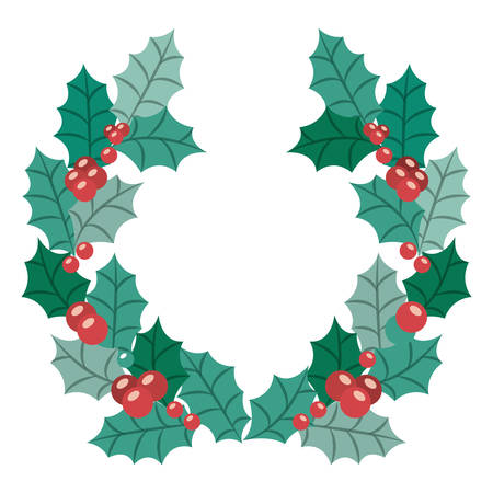 christmas crown: Leaves crown and wreath icon. Merry Christmas season and decoration theme. Isolated design. Vector illustration