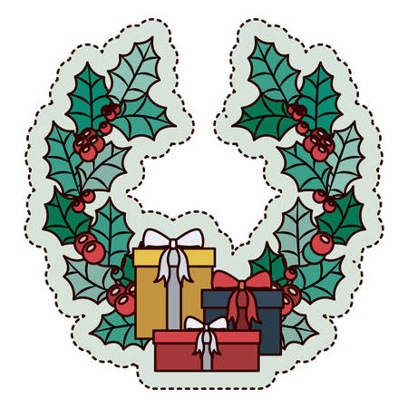christmas crown: Gift and crown icon. Merry Christmas season and decoration theme. Isolated design. Vector illustration