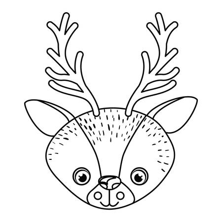 Reindeer icon. Animal cartoon and nature theme. Isolated and drawn design. Vector illustration