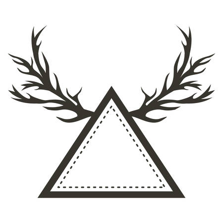 vintage theme: Ornament triangle with horns icon. Decoration and vintage theme. Isolated and drawn design. Vector illustration Illustration