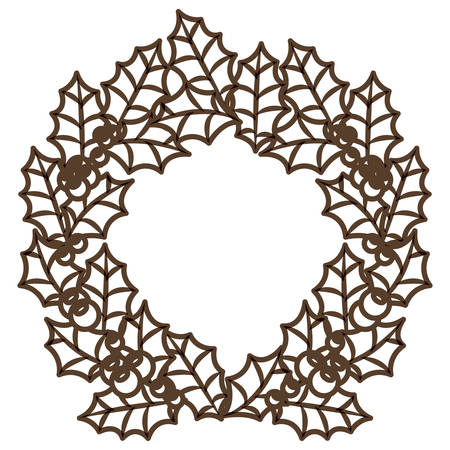 corona navidad: Leaves crown and wreath icon. Merry Christmas season and decoration theme. Isolated design. Vector illustration
