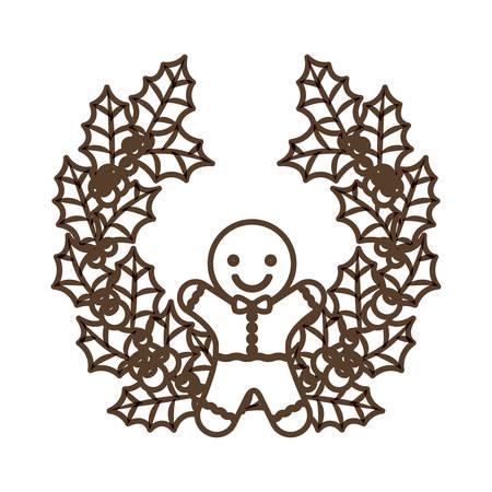 corona navidad: Coockie and crown icon. Merry Christmas season and decoration theme. Isolated design. Vector illustration