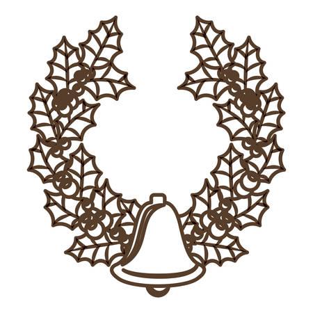 corona navidad: Bell y icono de la corona. temporada de Feliz Navidad y la decoración tema. diseño aislado. ilustración vectorial
