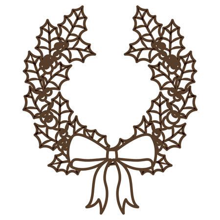 corona navidad: Deja la corona y la corona de icono. temporada de Feliz Navidad y la decoración tema. diseño aislado. ilustración vectorial