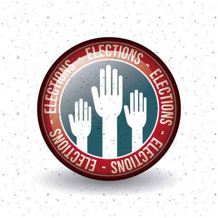 presidental: Hand inside button icon. Vote election nation and government theme. Colorful design. Vector illustration