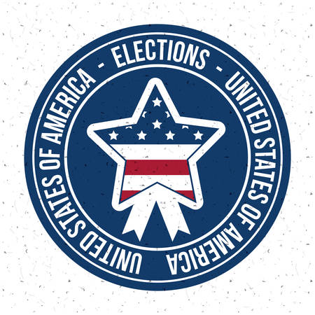 presidental: Star inside button icon. Vote election nation and government theme. Colorful design. Vector illustration