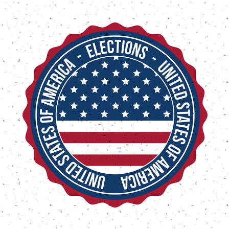 presidental: Usa flag inside button icon. Vote election nation and government theme. Colorful design. Vector illustration