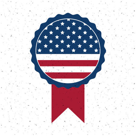 conscientious: Usa flag inside button icon. Vote election nation and government theme. Colorful design. Vector illustration