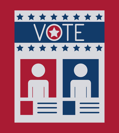 presidental: Card paper icon. Vote election nation and government theme. Colorful design. Vector illustration