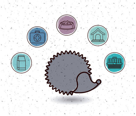 porcupine: Porcupine and icon set. Animal pet and nature theme. White and texture background. Vector illustration