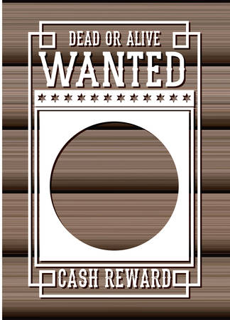 western theme: Wanted paper poster icon. Search and western theme. Vintage and retro design. Wood background. Vector illustration
