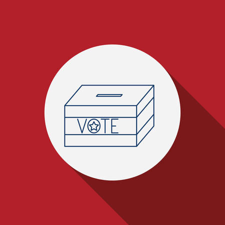 presidental: Box icon. Vote election nation and government theme. Red background. Vector illustration