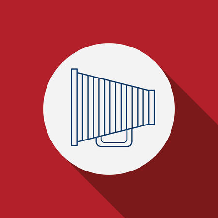 announce: Megaphone icon. Communication announce and message theme. Red background. Vector illustration
