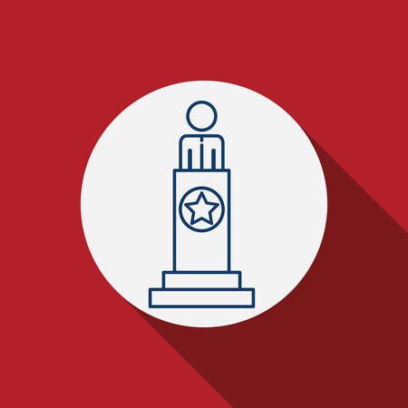 conscientious: President icon. Vote election nation and government theme. Red background. Vector illustration Illustration