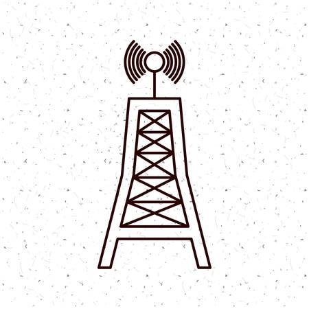 broadcasting: News antenna icon. News media communication broadcasting theme. Texture background. Vector illustration Illustration