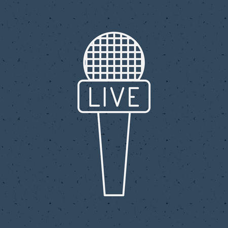 broadcasting: News microphone icon. News media communication broadcasting theme. Texture background. Vector illustration