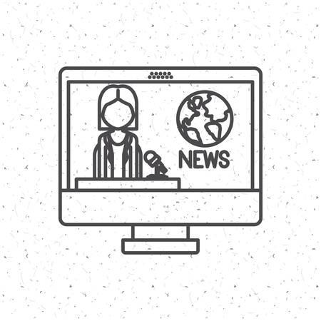 news media: News Presenter woman inside computer icon. News media communication broadcasting theme. Texture background. Vector illustration Illustration