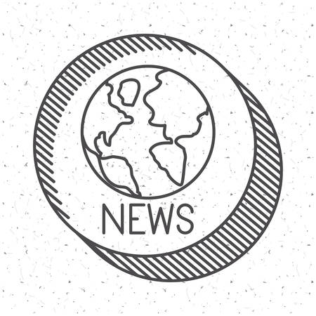 broadcasting: News with planet sphere icon. News media communication broadcasting theme. Texture background. Vector illustration