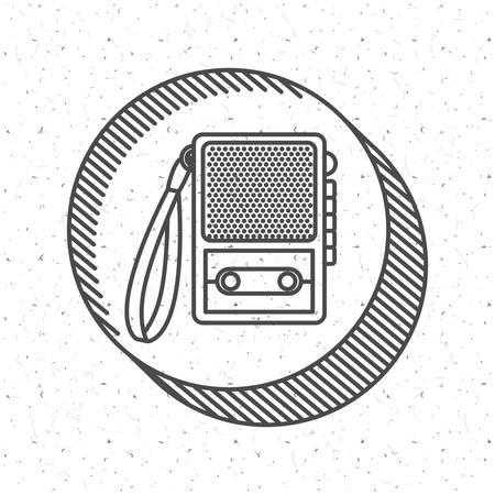 broadcasting: News recorder icon. News media communication broadcasting theme. Texture background. Vector illustration