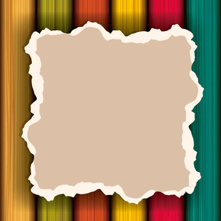 Piece of vintage and blank paper icon. Banner material and decoration theme. Wood background. Vector illustration