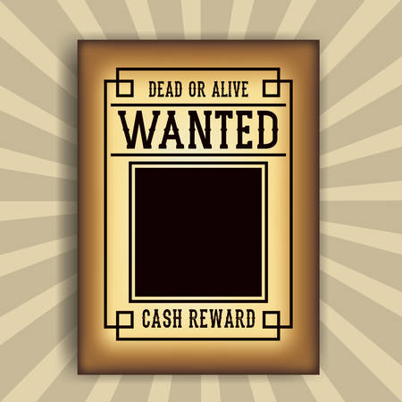 western theme: Wanted paper poster icon. Search and western theme. Vintage and retro design. Striped background. Vector illustration Illustration